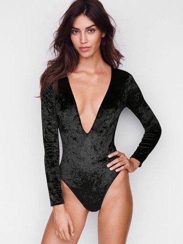 CRUSHED VELVET PLUNGE BODYSUIT
